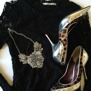 Vintage Silver Plated Bib Statement Necklace