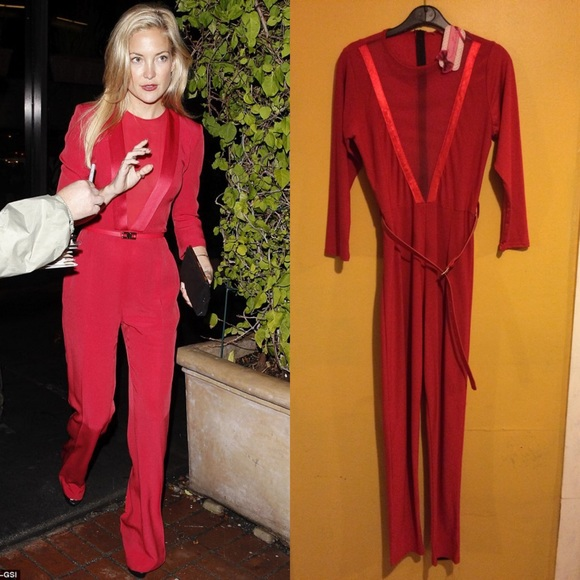 8555a27846 NWT Women s Sexy Red Belted Mesh Insert Jumpsuit