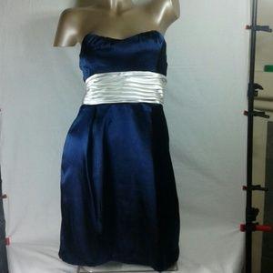 TEEZE ME BLUE NAVY STRAPLESS SATIN DRESS