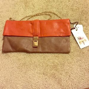 Orange & Brown Clutch Bag by Urban Expressions NWT