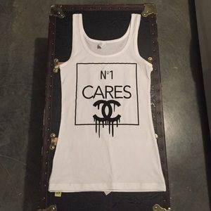 No1 CARES white and black tank top