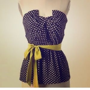 Polka Dot Strapless Top