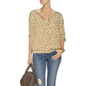 Equipment | Silk Leopard-Print Zip Up | XS | NWT