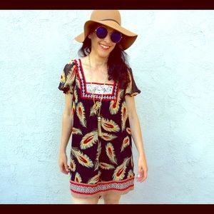 FOREVER 21 Boho Feather Print Mini Dress Small