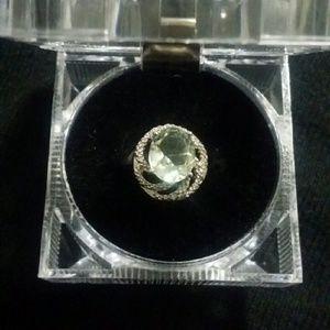 Jewelry - GENIUNE GREEN AMETHYST AND DIAMOND RING