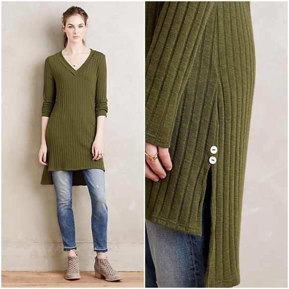 72% off Anthropologie Tops - Green Ribbed V-Neck Tunic Sweater Top ...