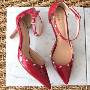 PRICE DROP Sole Society red patent studded heels