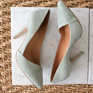 PRICE DROP Mint green suede Madewell Mira pumps