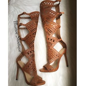 Tan Cut-Out Gladiator Heels
