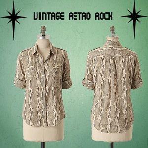 Anthropologie Fei Shine Through Button Up Shirt