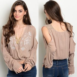 Boutique Tops - Taupe Cold Shoulder Embroidered Peasant Top