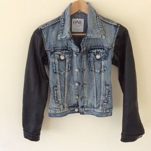 One Teaspoon Faux Leather/Denim Medium Moto Jacket