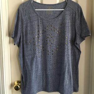 BLUE HEATHER TOP WITH GOLD STUDS