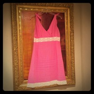 Lilly Pulitzer pink linen dress with white lace