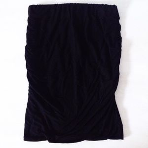 black ruched mini skirt