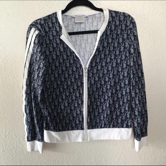 b0df62384173 Dior Jackets   Coats   Christian Sz M Sweater Jacket Monogram   Poshmark