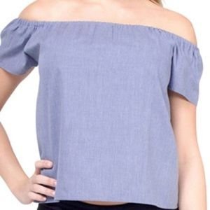 Atid Clothing Tops - NWT! Off the shoulder chambray top.