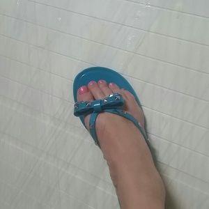 Turquoise Studded Bow Jelly Sandal Lane Bryant