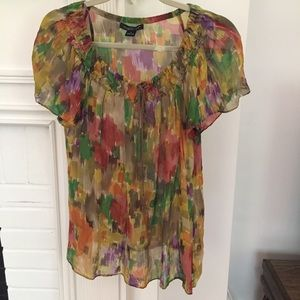 august silk Tops - Sheer Silk Watercolor Top