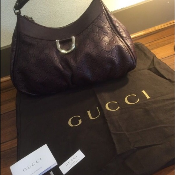 77815472a Gucci Bags | Leather Embossed Hobo Shoulder Burgundy | Poshmark