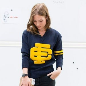 Emerson Fry 100% Wool Varsity Navy Sweater XS