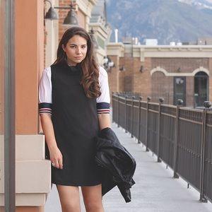 Sleeveless Mock Neck Black Dress