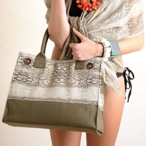 Ananda Design Handbags - Khaki Python Print Handbag