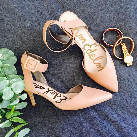 cf8761448d97 Sam Edelman Okala Pump Heels Shoe Nude Ankle Strap.  M 5755f1ff522b459464000812