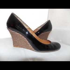Lanvin Black Patent Leather Wedges
