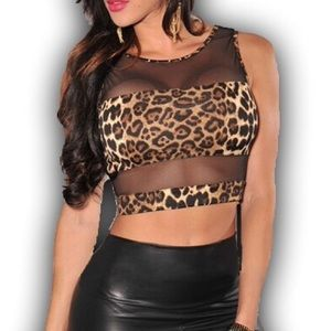 Pinkerly Tops - Leopard Print Mesh Cutout Crop Top