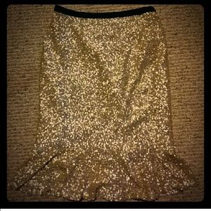 Gold sequin peplum herm skirt