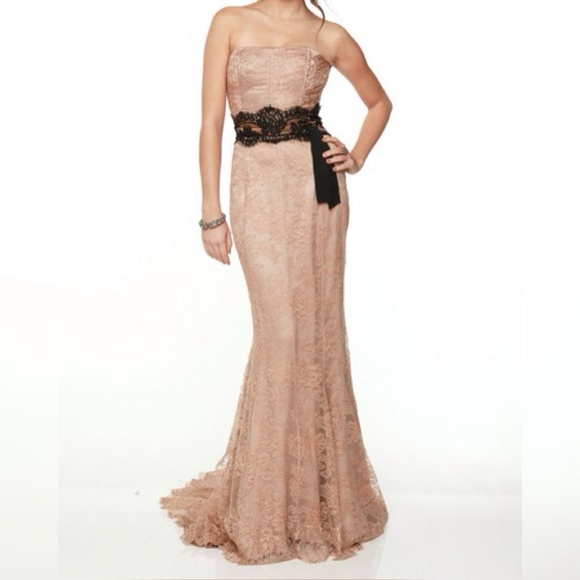 Jovani Dresses | Nude Tan Beige French Lace Evening Gown With Belt ...