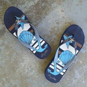 67c123bb5396cb Brighton Shoes - Brighton Starfish Wedge Flip flops