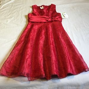 Bonnie Jean Other - Red embroidered lace flare dress. Girl size 14.