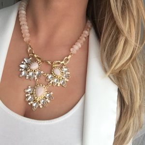 New York & Company pink and gold beaded necklace