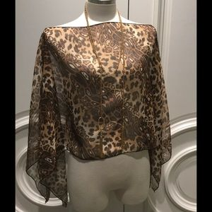 Collection XIIX Tops - sheer cheetah overlay top NWT 🆕