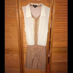 Pants - Beige & Cream Collared Romper