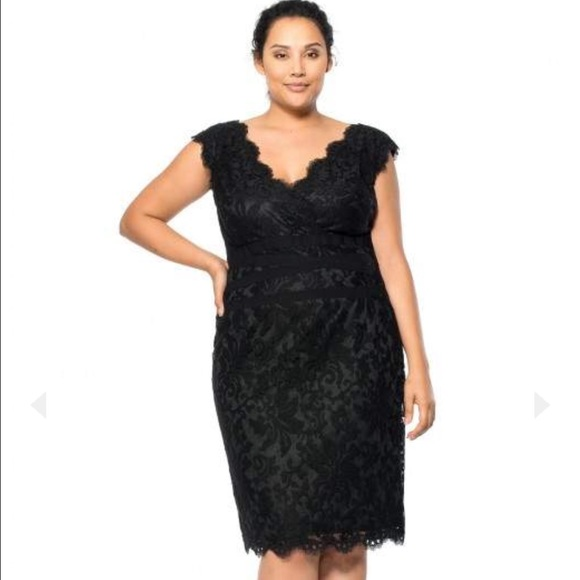 Tadashi Shoji Dresses Plus Size Black Embroidered Lace V Neck