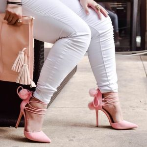 Shoes - Faux Pink Suede Lace Up Heels