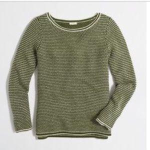 J. Crew OliveGreen Chevron Stitch Boatneck Sweater