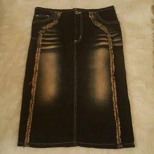 Dresses & Skirts - High-waisted denim pencil skirt