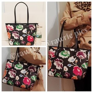 New Coach black wildflower floral city zip tote