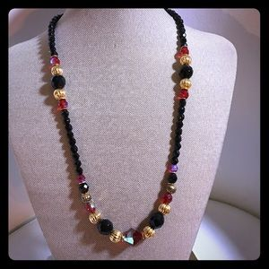 Beautiful beaded black and red necklace