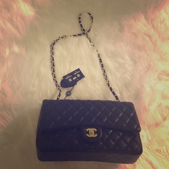 bb5a11d74464 CHANEL Bags | Caviar Black And Gold Quilted Bag | Poshmark