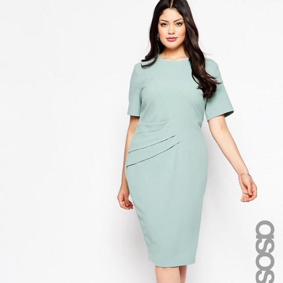 8e4e1de8219 ASOS Dresses   Skirts - ASOS CURVE Premium Pencil Dress With Pleat Side