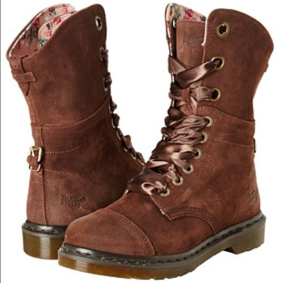 Dr Martens Aimilie dark brown suede boots