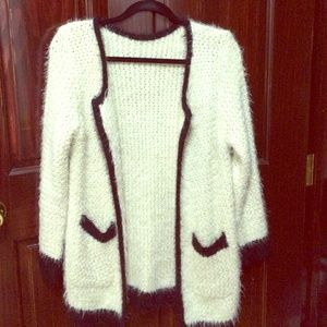 Sweaters - Fluffy Color blocked oversized cardigan