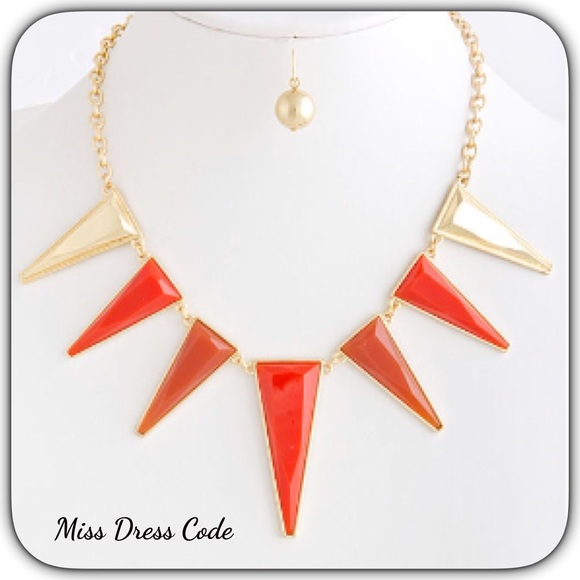 Orange Spiked Acrylic Statement Necklace