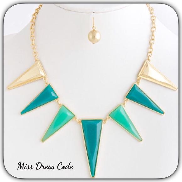 Turquoise Acrylic Statement Necklace