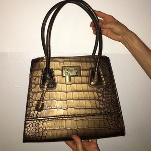London Fog bronze brown faux alligator bag